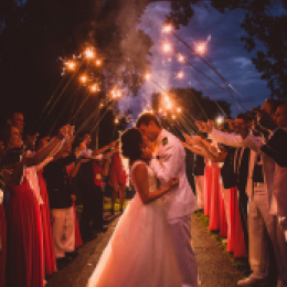 couple under sparklers